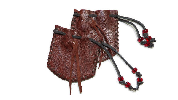 Burnt Cherry Sheepskin Leather Medicine Bag Pouch