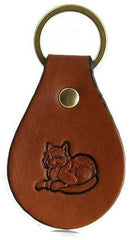 Cat Leather Keychain