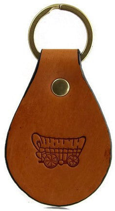 Covered Wagon Leather Keychain