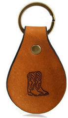 Cowboy Boots Leather Keychain
