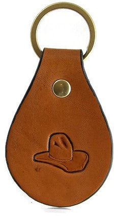 Cowboy Hat Leather Keychain