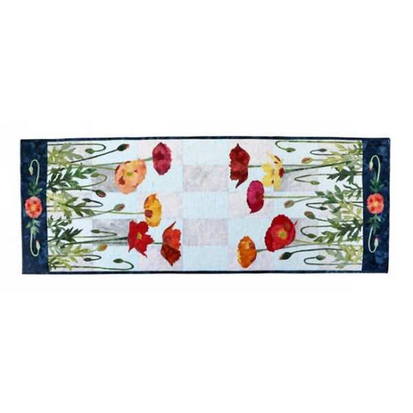 Wildfire Designs Alaska Multi-Colored Poppies Table Runner Applique Quilt Kit with Pattern