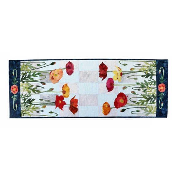 Wildfire Designs Alaska Multi-Colored Poppies Table Runner Applique Quilt Kit