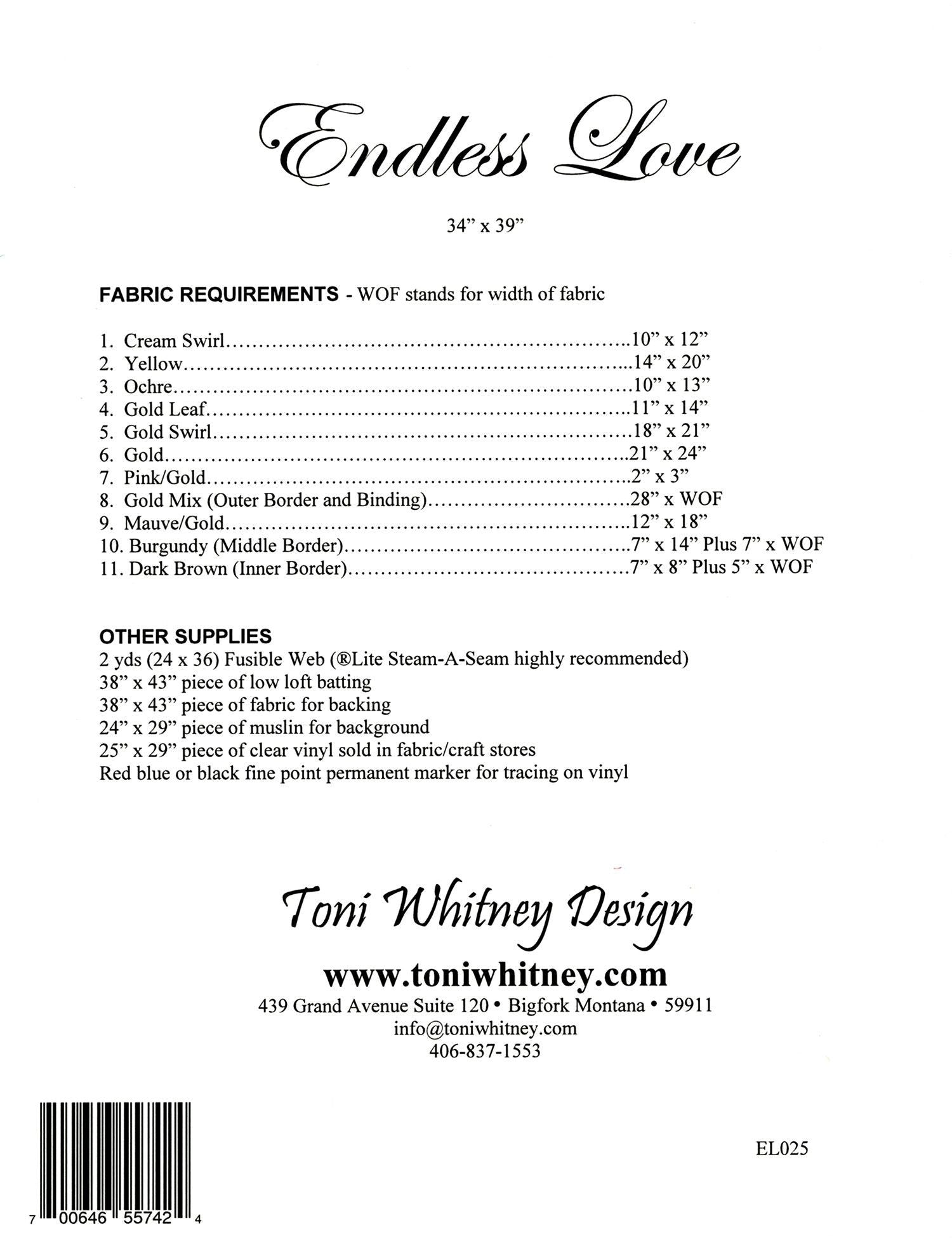 Toni Whitney Design Endless Love Applique Quilt Pattern Back Cover
