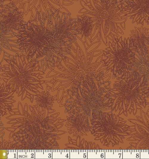 Art Gallery Fabrics Floral Elements Russet Orange Blender Cotton Fabric FE-503-Russet-Orange