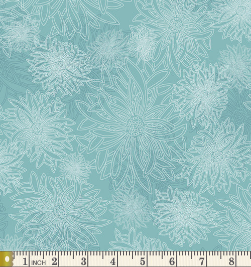 Art Gallery Fabrics Floral Elements Aqua Haze Blender Cotton Fabric FE-508-Aqua-Haze