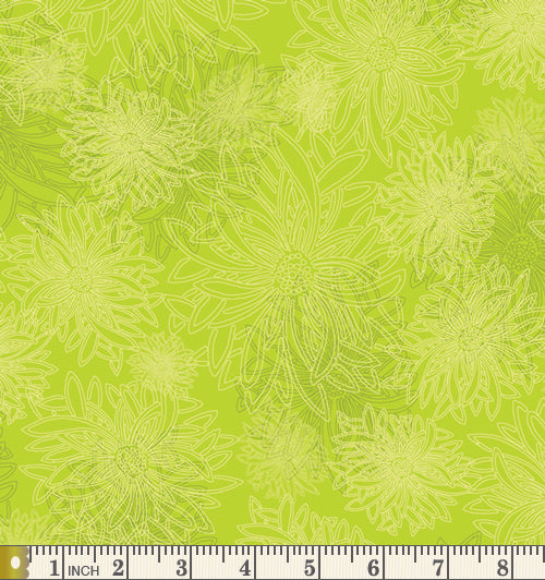 Art Gallery Fabrics Floral Elements Kiwi Blender Cotton Fabric FE-524-Kiwi