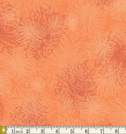 Art Gallery Fabrics Floral Elements Tangerine Blender Cotton Fabric FE-525-Tangerine