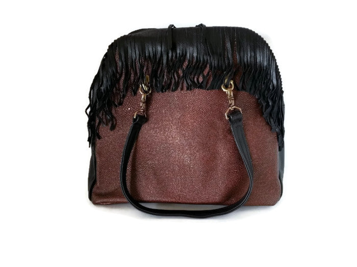 Fringed Metallic Copper Stingray Embossed Cowhide Leather Zip Top Tote