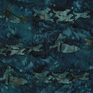Hoffman Fabrics Teal Blue Dog Musher Bali Batik Fabric G2208-21-Teal