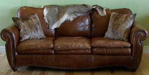 Brindle Hair On Cowhide Leather Pillow Set with Dark Brown Suede Back and Bottom Zip