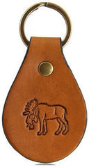 Head Down Moose Leather Keychain
