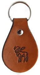 Head Up Moose Leather Keychain