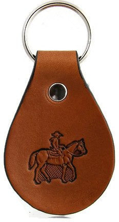 Horse and Rider Leather Keychain
