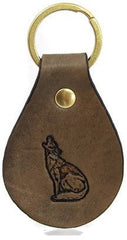 Howling Coyote Leather Keychain