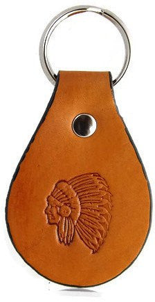Indian Chief Leather Keychain