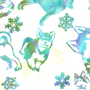 Hoffman Fabrics Breeze Blue Green Siberian Husky Dog Bali Batik Fabric J2430-492-Breeze