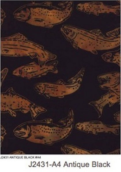 Hoffman Fabrics Antique Black Alaskan Salmon Batik Fabric J2431-A4-Antique-Black
