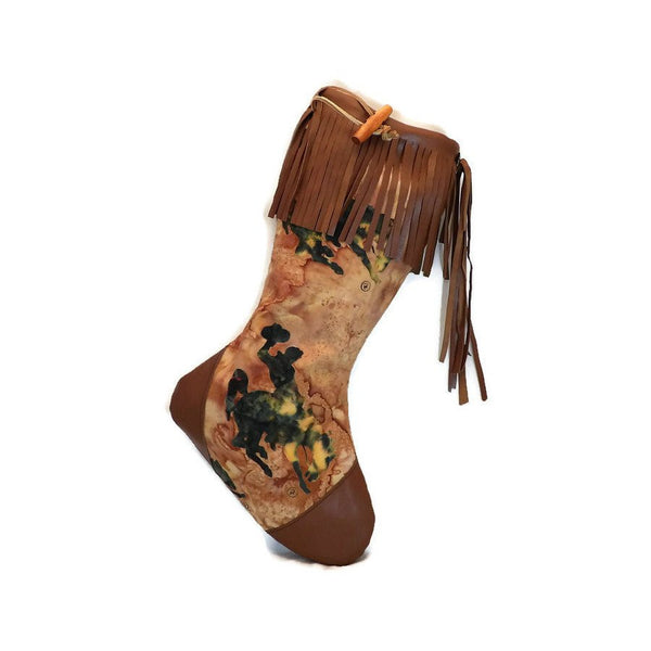 Large Batik Bucking Horse Christmas Stocking with Brown Lambskin Leather Fringe and Plush Red Lining