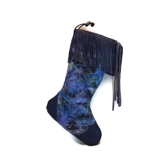 Large Blue Batik Fish Christmas Stocking with Blue Lambskin Leather Fringe and Plush Red Lining
