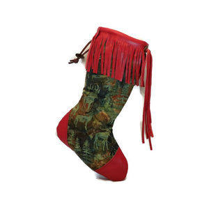 Large Forest Green Batik Animals Christmas Stocking with Red Lambskin Leather Fringe and Plush Red Lining