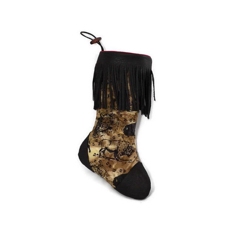 Large Batik Buffalo Christmas Stocking with Chocolate Brown Deerskin Leather Fringe and Plush Red Lining