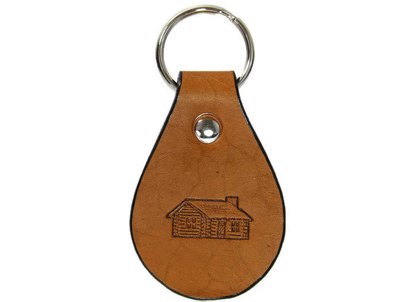 Log Cabin Leather Keychain Made in Montana Free Gift Wrap