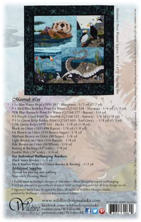 Wildfire Designs Alaska Maritime's Most Wanted Sea Otter Applique Quilt Pattern Back Cover