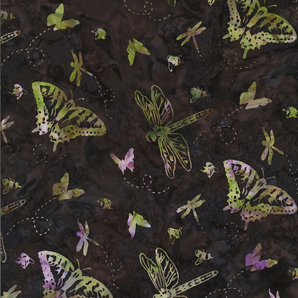 Hoffman Fabrics Dragonfly Green Brown Butterfly Bali Batik Fabric P2985-324-Dragonfly