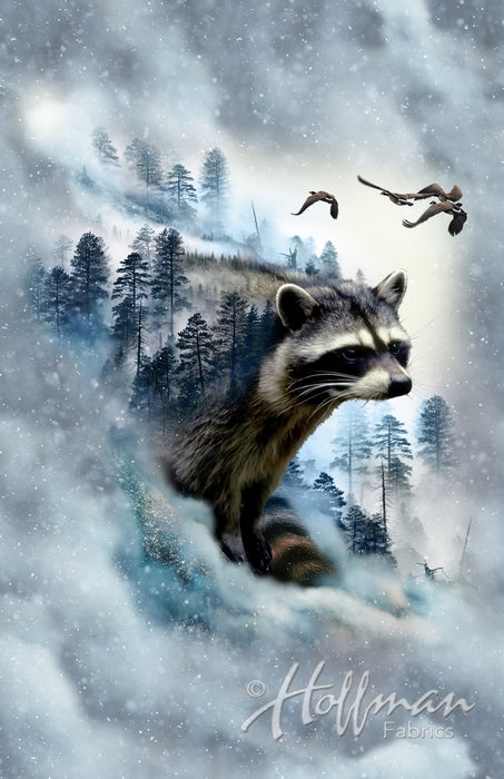 Hoffman Fabrics Call of the Wild Raccoon Panel Cotton Fabric P4398-176-Ice
