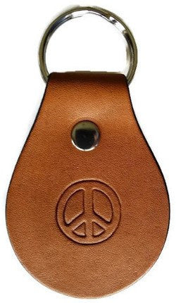Peace Sign Leather Keychain