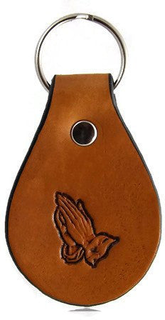 Praying Hands Leather Keychain