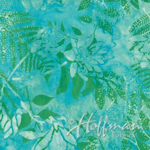 Hoffman Fabrics Aqua Pond Floral Batik Cotton Fabric Q2140-452- Pond