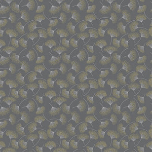 Hoffman Fabrics Sparkle and Fade Dandelion Charcoal Grey Metallic Cotton Fabric Q4467-55M-Charcoal-Metallic