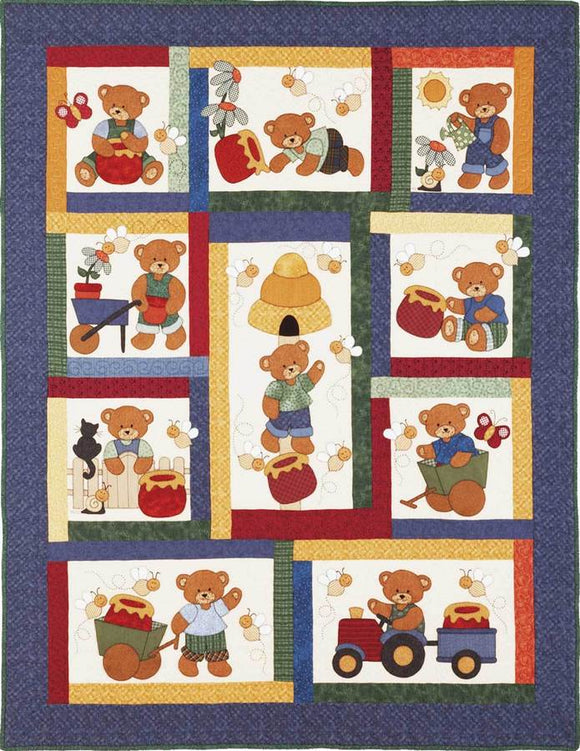 Kids Quilts Honey Bears Boy Teddy Bear Applique Quilt Pattern