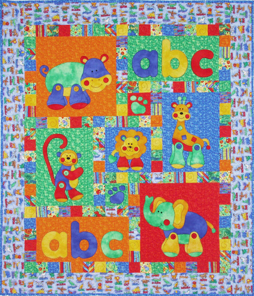 Kids Quilts Alphabet Jungle Elephant Monkey Lion Applique Quilt Pattern
