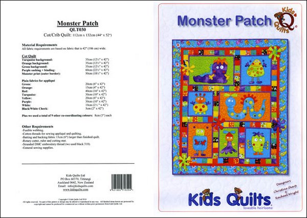 Kids Quilts Monster Patch Robot Bug Applique Quilt Pattern