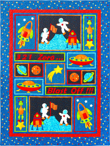 Kids Quilts Blast Off Astronaut Space Rocket Ship Applique Quilt Pattern