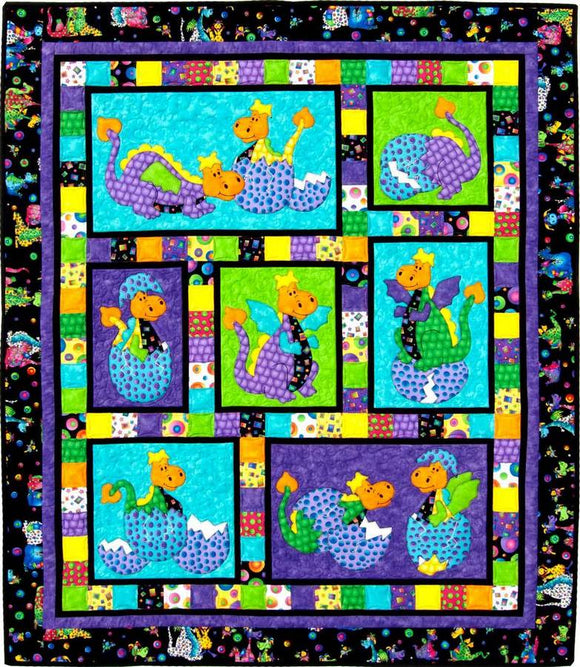 Kids Quilts Hatched Polka Dot Baby Dragon Applique Quilt Pattern