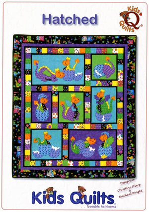 Kids Quilts Hatched Polka Dot Baby Dragon Applique Quilt Pattern Front Cover
