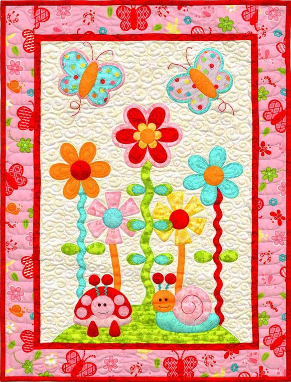 Kids Quilts In The Garden Butterfly Flower Applique Quilt Pattern