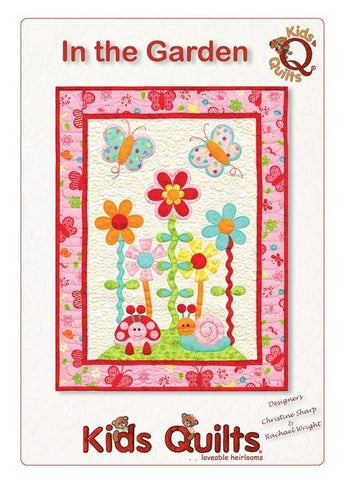 Kids Quilts In The Garden Butterfly Flower Applique Quilt Pattern Front Cover