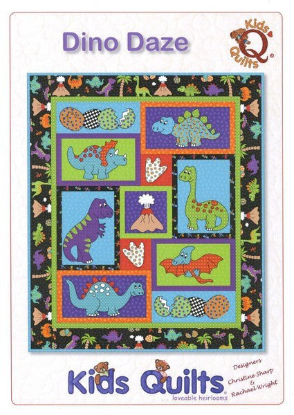 Kids Quilts Dino Daze Dinosaur Crib Applique Quilt Pattern Front Cover
