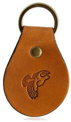 Quail in Flight Right Leather Keychain