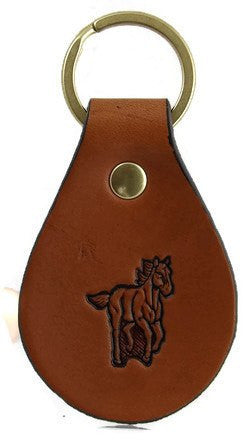 Running Horse Leather Keychain