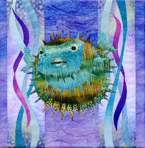 Pine Needles Sea Breeze Koo Koo Puff Puffer Fish Block Six by McKenna Ryan