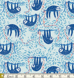 Art Gallery Fabrics Selva Swaying Sloths Sky Cotton Fabric SLV-14517 Scale