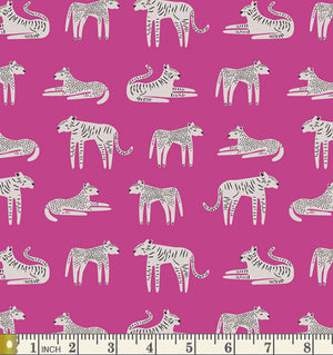 Art Gallery Fabrics Selva Fierce Felines Fucsia Cotton Fabric SLV-24512 Scale