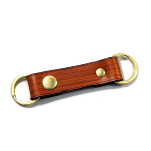 Modern Wood Grain Saddle Tan Valet Double Ring Leather Key Chain