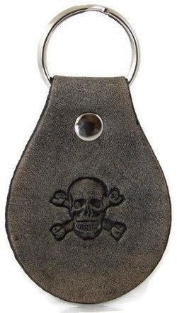 Skull and Crossbones Leather Keychain